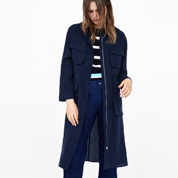 3977260878 ZARA FLOWY LONG MILITARY TRENCH COAT WITH POCKETS Boutique